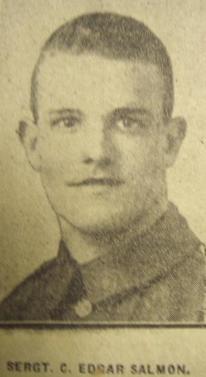 Sergeant Charles Edgar Salmon 240072 2/5th East Lancashire Regiment Missing in Action 9th October 1917, aged 22. Lived at 318 Cog Lane, later Gannow Lane - salmoncharlesedgar240072